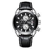 CIVO Herren Schwarz Uhren Chronograph Multifunktionale Mode Leder Herrenuhren Luxus Coole Wasserdicht Datum Kalender Armbanduhren Lässige Outdoor Künstlerische Quarzuhr mit Großes Zifferblatt (Schwarz)