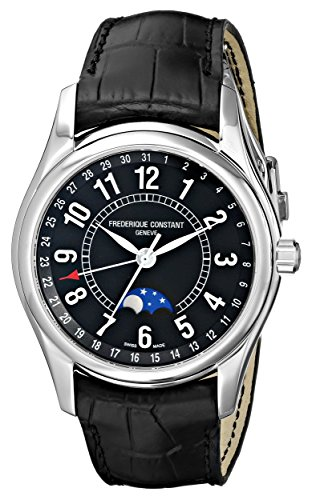 Frederique Constant FC-330B6B6 43mm Automatic Stainless Steel Case Black Calfskin Anti-Reflective Sapphire Men's Watch