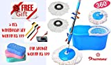 #8: Premsons Spin Mop & Bucket Guaranteed Good Stable Quality Weighing Over 700 Gms Magic 360° Cleaning with 2 Microfibre Refills + FREE GIFT 3 pcs Mini Wire Brush Set with Brass, Nylon & Stainless Steel Bristles Worth Rs 199+ FREE GIFT 8 Shaped Car Wash Cleaning Expanding Sponge Worth Rs 199