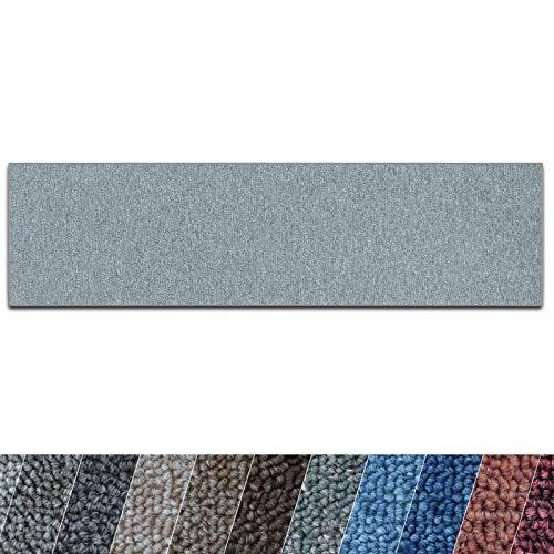 casa pura Teppich Läufer London | Meterware | Teppichläufer für Wohnzimmer, Flur, Küche usw. | flacher Schlingenflor | mit Stufenmatten kombinierbar (Hellgrau - 80x250 cm)
