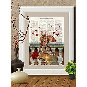 Kunstdrucke Kaninchen liebe auf Antike Buchseite,#KAN03