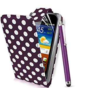 Supergets® Samsung Galaxy Ace 2 I8160 Polka Dot Top Flip Case Covers, Screen Protector, High Capacitive Touch Screen Stylus And Polishing Cloth Purple