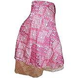 Mogulinterior Mogul Womens Vintage Silk Sari Wrap Skirt Boho Printed Reversible Beach Dress