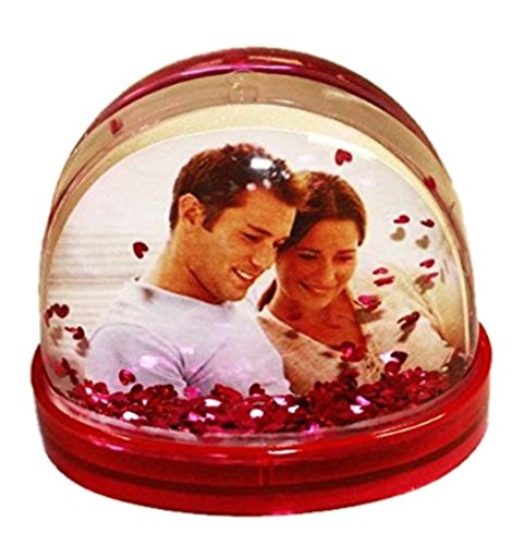 HAAC Schüttelkugel für Foto mit Herzen Größe 9,3 cm x 7 cm x 7,5 cm Farbe rot / pink