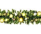 Queens of Christmas wl-garbm-09-wood-lww beleuchteter LED Blended Kiefer Christmas Garland verziert mit der Woodland Schmuck Kollektion, 9', warm weiß
