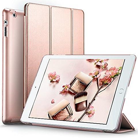 Coque iPad 2 iPad 3 iPad 4 Case Rose, ESR Smart Case Cover Housse Etui Coque de Protection Rigide Ultra fine avec Support Multi-Angle Fermeture Magnétique Veille Automatique pour Apple iPad 4 (2012) iPad 3 (2012) iPad 2 (2011) Modèle A1395 A1396 A1397 A1416 A1430 A1403 A1458 A1459 A1460 (Série Yippee, Or Rose)