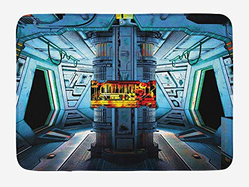Single Station Control (ZiJface Outer Space Bath Mat, Space Ship Station Base Control Room Technology Elements Features Image, Plush Bathroom Decor Mat with Non Slip Backing, 31.69 X 19.88 Inches, Blue Black Orange)