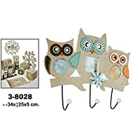 DonRegaloWeb - 3 Hooks Wall Coat Rack with Wood Photo Frame Decorated with Owls. Dimensions: 34 cm x 25 cm x 5 cm