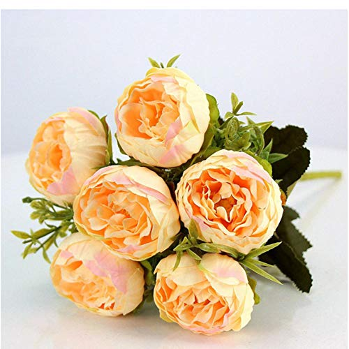 ume Lila Rosa Große Pfingstrose Künstliche Blumen Elegante Schöne Seide Gefälschte Blumen Blüte Pfingstrosen Hochzeit Home Party Dekoration Blatt-Gelb ()