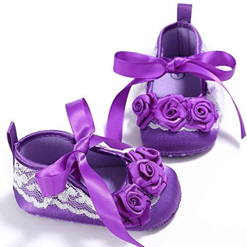 Igemy 1Paar Kleinkind Mädchen Krippe Schuhe Neugeborene Blume Soft Sohle Anti-Rutsch Baby Sneakers Purple