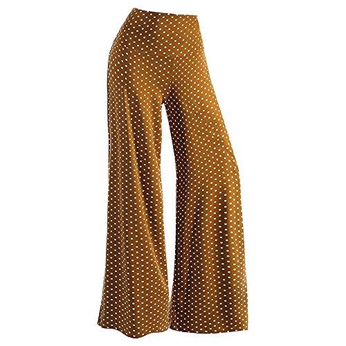 Pantalones Anchos para Mujer Otoño Invierno 2018 Moda PAOLIAN Casual Pantalones Marlene de Vestir Cintura Alta Fiesta Palazzo Pantalon Baggy Estampado de Lunares Señora