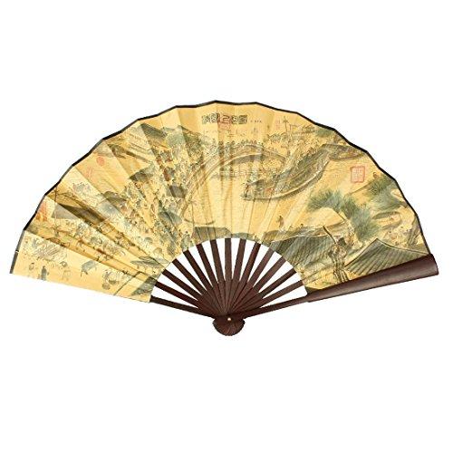 "TOOGOO(R) 24.4 ""Ancho abierto Abanico de mano plegable de costillas de bambu de impresion de caracter china para hombre"