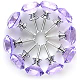 Tradico® 10 Pieces, Purple: Diamond Shape Crystal Glass 30mm Kitchen Cabinet Door Drawer Knob Cupboard Dresser Wardrobe Pull Handle with Screws, 10pcs Purple