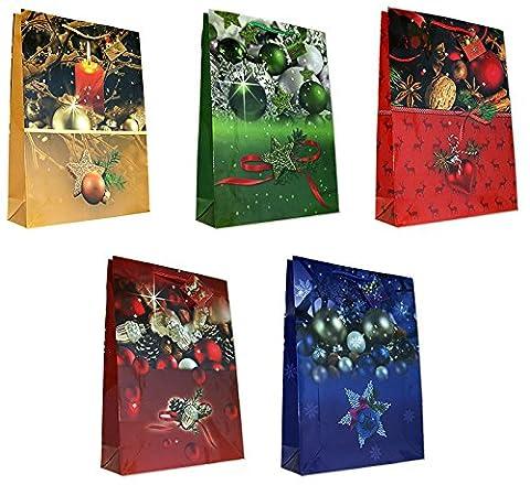 10 Geschenktüten Weihnachten Weihnachtsbaum Kerzen Kugeln Jumbo XXL 44 x 32 x 10 cm Weihnachtstüten Geschenktaschen Papier-Tragetaschen 22-2019