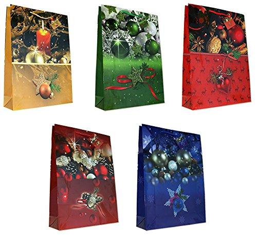 ihnachten Weihnachtsbaum Kerzen Kugeln Jumbo XXL 44 x 32 x 10 cm Weihnachtstüten Geschenktaschen Papier-Tragetaschen 22-2019 ()