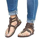 Mujer Sandalias Planas Verano Tobillo Correa Hebilla Zapatillas Plataforma Zapatos Plano Cóm...