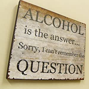 Wooden Shabby Chic Sign'Alcohol is the answer,Sorry I can't remember the question'