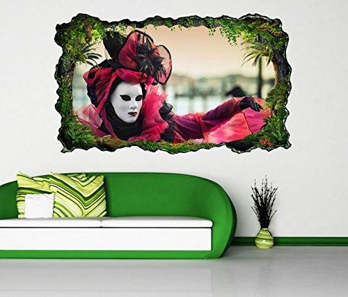 3D Wandtattoo Karneval Frau schön Maske Ball Italien Venedig selbstklebend Wandbild Tattoo Wand Aufkleber 11M1069, Wandbild Größe F:ca. 162cmx97cm