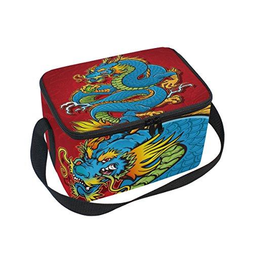 Isolierte Lunchtasche mit chinesischem Drachen, Kühltasche, wiederverwendbar, für Outdoor-Reisen, Picknick-Taschen