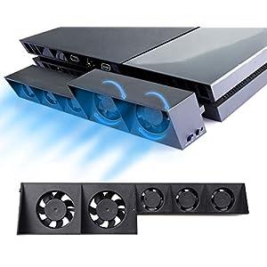 PS4 Turbo Lüfter Ventilator Kühler – ElecGear Externe Kühlgebläse USB 5 Cooling Fan Cooler Auto Luftzirkulation Kühlung…