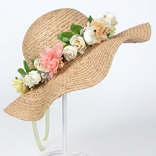 Guirlandes chapeaux tissés à la main chapeau de paille femme été plage tour coréen situé en bord de mer le vent Accessoires , guirlandes bleu Des guirlandes de fleurs roses