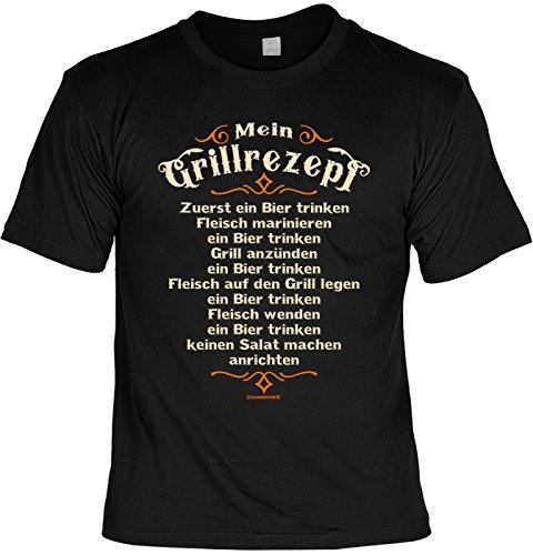 51Saek OhBL - Tini - Shirts Griller Sprüche-Tshirt - lustiges Grill-Set - Griller Partyshirt : Mein Grillrezept - Zuerst Ein Bier Trinken - Bekleidung Grillen Grill Zubehör + Mini Flaschenshirt Gr: XXL