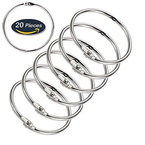 Loose Leaf Binder Rings Metal Book Rings Keychain Rings, 2 Inch Diameter, 20 Pieces