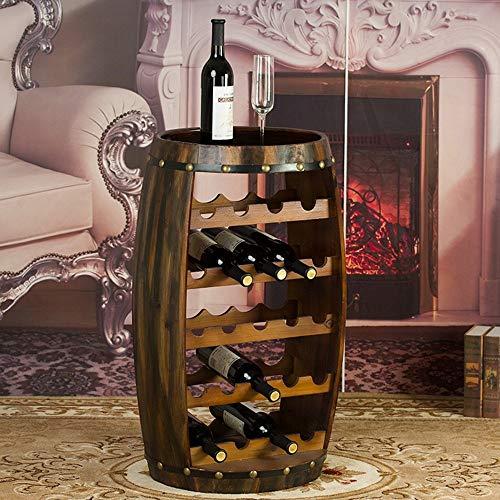 BYZ Weinregale Weinregal Holzfass Stil 23 Flaschenhalter Eiche Effekt frei stehend