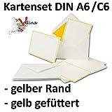 Neuser Einladungskarten inklusive Briefumschläge   25er-Set   hochwertige Postkarten in Weiß mit abgesetztem gelben Rand   exklusive Gruß-Karten & Kuverts in DIN A6 & C6 Format für besondere Anlässe