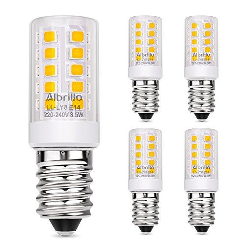 Albrillo 5er Pack 3.5W E14 LED Lampe 330lm, 3000k warmweiß LED Birnen ersatz 40W Glühlampe, E14 Energiesparlampe für Kühlschrank, Tischlampe