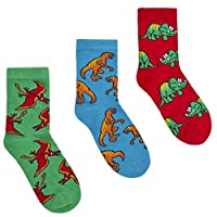 Childrens 3 Pack of Cotton Rich Dinosaur Design Socks