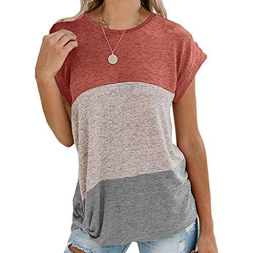 Damen Sommer Kurzarm Shirt, Selou Lässige Bluse mit Knoten Nähen Frauen Oversize Basic One Shoulder Cut Out Kalte Schulter Fitness SprüChe Locker RüCkenfrei Elegante Strandshirts - Womens Guayabera Shirt
