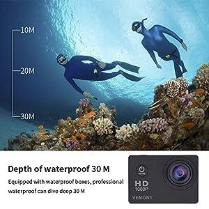 Vemont-1080p-12MP-Action-Kamera-Full-HD-20-Zoll-Bildschirm-30m98-Fu-Wasserdichte-Sports-Kamera-mit-Zubehr-Kits-fr-Fahrrad-Motorrad-Tauchen-Schwimmen-usw