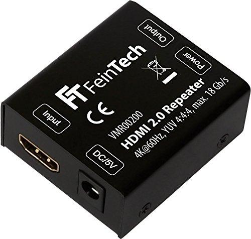 FeinTech VMR00200 HDMI 2.0 Repeater Signal-Verstärker (UHD 4K 60 Hz, HDR) 50 m Reichweite HDCP 2.2 schwarz Signal-repeater