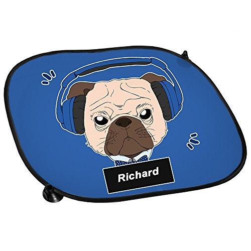 Auto-Sonnenschutz mit Namen Richard und Mops-Motiv mit blauem Kopfhörer für Jungen | Auto-Blendschutz | Sonnenblende | Sichtschutz