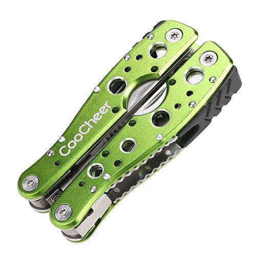 Coocheer Outdoor 9 in 1 Premium Taschen-Multiwerkzeug Zangen Sets Multitool faltbare Kombinationen mit Säge Flaschenöffner Schraubenzieher Messer& mehr (Grün)