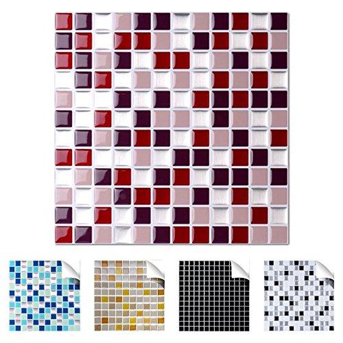 3 x 25,3 cm rot beige Silber Design 4 I 3D Fliesenaufkleber Mosaik große Auswahl für Küche Bad Fliesenfolie selbstklebend Wandaufkleber W3329 ()