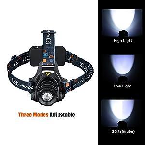 TopElek Linterna Frontal Cabeza LED con Baterías 3 Modo de Luz, Recargable y Diseño de Iluminación SOS con Ligero Peso Perfecto para Camping, Pesca, Luz de Emergencia, Exterior e Interior