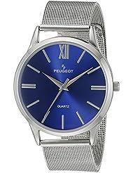 Peugeot caso delgado de acero inoxidable de los hombres reloj de pulsera con banda de malla - esfera azul