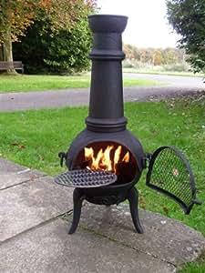 oxford chemin e d 39 ext rieur en fonte d 39 acier avec grille amovible pour barbecue noir grand 120. Black Bedroom Furniture Sets. Home Design Ideas