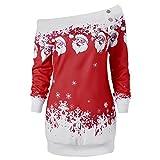 CharMma Damen Weihnachten Pullover Langarmshirt Santa Claus und Schnee Druck Sweatshirt (Dunkelrot, 2XL)