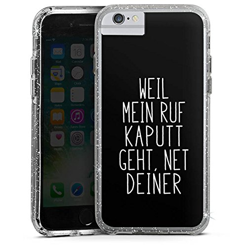 Apple iPhone 7 Plus Bumper Hülle Bumper Case Glitzer Hülle Weil Mein Ruf Kaputt Geht Pietro Lombardi Spruch Bumper Case Glitzer silber
