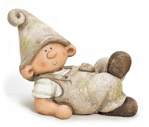Wichtel Figur Gartenzwerg Junge liegend Gartenfigur aus Polystein grau braun 30 cm, Zwerg witzige Figur als Deko für den Garten