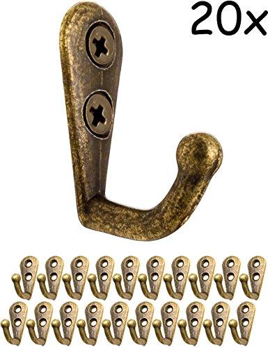 FUXXER® - Antik Haken | Garderoben-Haken Handtuch-Haken Kleider-Haken | Guss-Eisen Messing Bronze Design | Vintage Landhaus Retro | 20er - Bad Hardware-messing