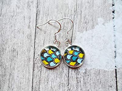 Scandinavian silver earrings with blue and yellow pendants, studs or hanging, Selma Dreams Nordic gifts