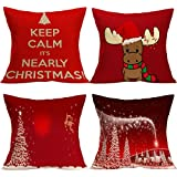 Outgeek Throw Pillow Cover 4 Pcs Christmas Decor Snow Tree Letter Cow Pattern Christmas Cushion Cover Medium Red