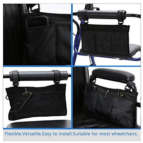 51SancEH7mL - AUVSTAR Bolsa de almacenamiento para silla de ruedas Bolsa,Bolsa de accesorios de silla de ruedas, Personas mayores, discapacitados - Bolsa de silla de ruedas con manos libres. (Negro)