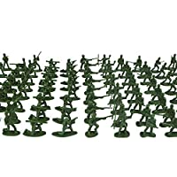 Spritumn 100 pcs Military Soldier Playset, Army Toys Soldiers Battle Group Army Men Play Bucket Military Playset with Toy Soldiers