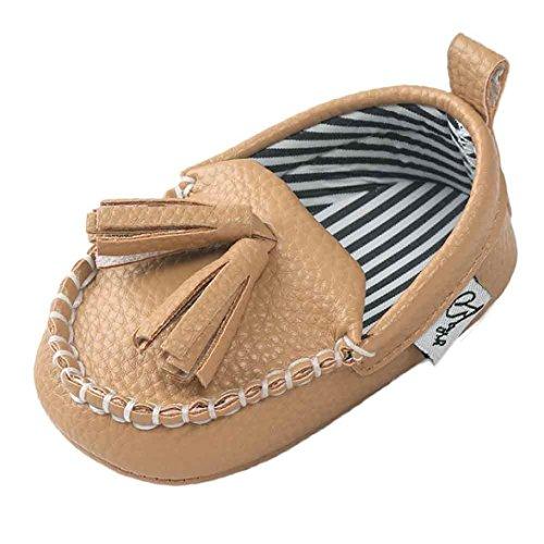 Saingace Krabbelschuhe Baby-Mädchen-Jungen-weiche alleinige lederne Schuhe weiche untere Schuhe flache Schuhe Khaki