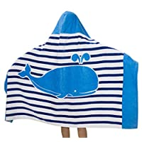 Comfysail Kids Hooded Beach Bath Towel 100% Cotton Super Soft Childrens Towel Swimming Girls Boys, Blue, 76*127cm